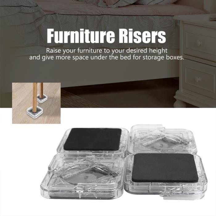 8pcs Pied de meubles Riser de fourniture Réhausseur de meuble Lit - Table - Bureau - Canapé-Chaise