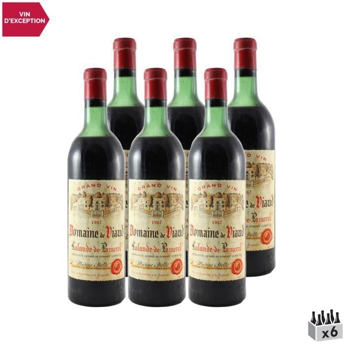 Domaine de Viaud Lalande-de-Pomerol Rouge 1967 - Lot de 6x75cl - Vin AOC Rouge de Bordeaux - Cépages Merlot, Cabernet Franc