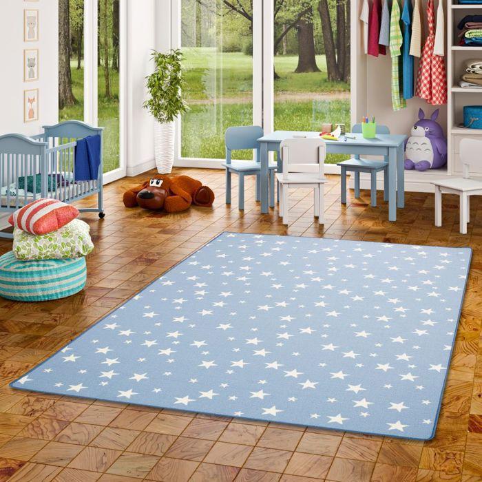 Tapis de jeu pour enfant - motif etoiles - bleu [160x160 cm]