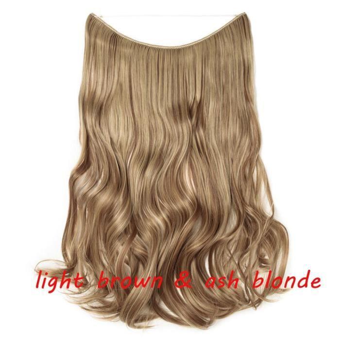 395 20 pouces -S noilite 32 couleurs Invisible fil Halo pince à Extension de cheveux en faux cheveux postiches Extensions de cheveu