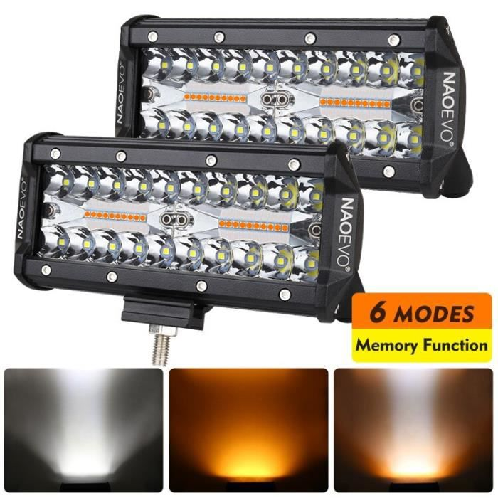 7in 240W no wiring -NAOEVO Lumière Led Barre 12v 24v stroboscope 2 couleur 6 Mode D'inondation de Tache de Brouillard Lampe De Tr