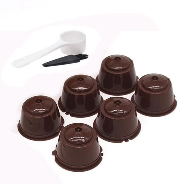Café Filtres,Capsules de café réutilisables de nescafé Dolce Gusto, capsules rechargeables, cuillère, filtre, - Type 6pcs brown
