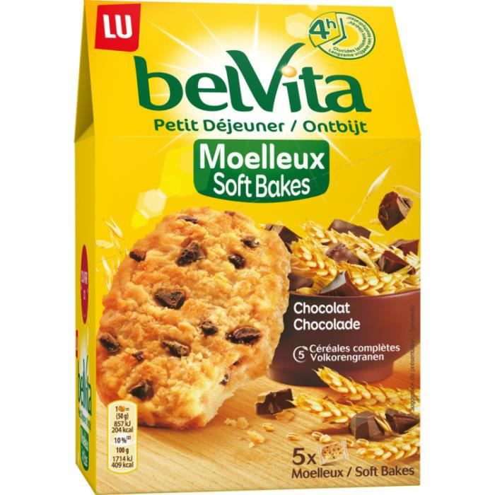 BELVITA Biscuits moelleux au chocolat et aux céréales - 250 g