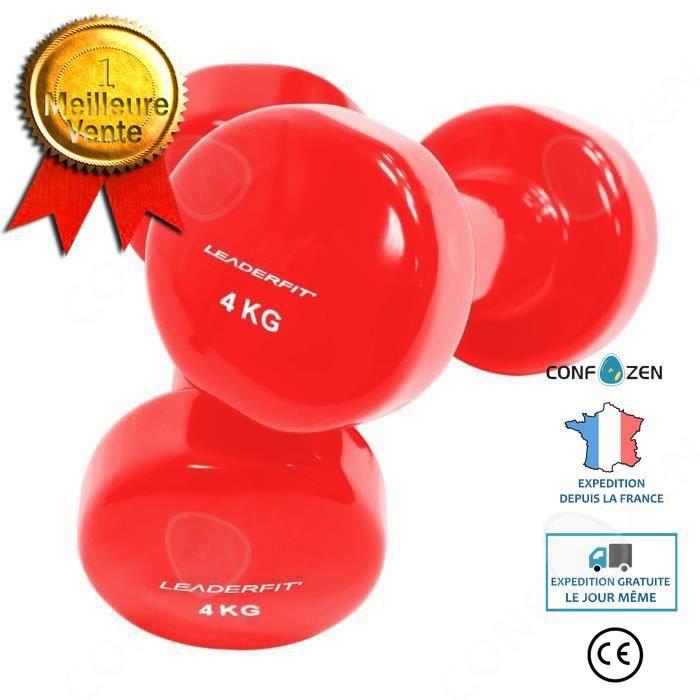 C® Sports Haltères fitness 4KG Petit fitness à domicile, corps minceur, exercice de yoga - rouge
