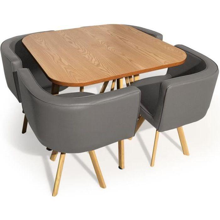 Table et chaises scandinaves Oslo Gris et Chêne