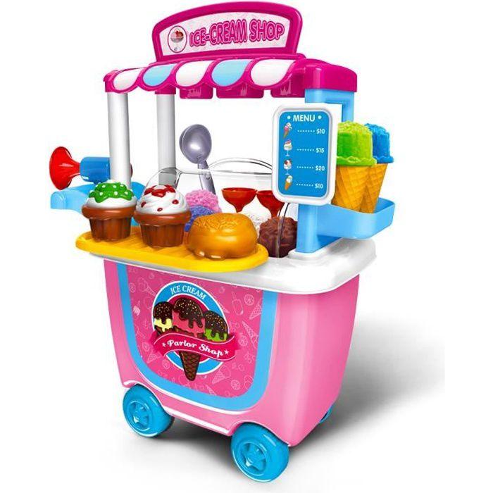 Dinette enfant Jeux d'imitation Coloré glaces Boutique,Mignon Jeu du Rôle jouet fille garçon 2 3 4 5ans 31pcs