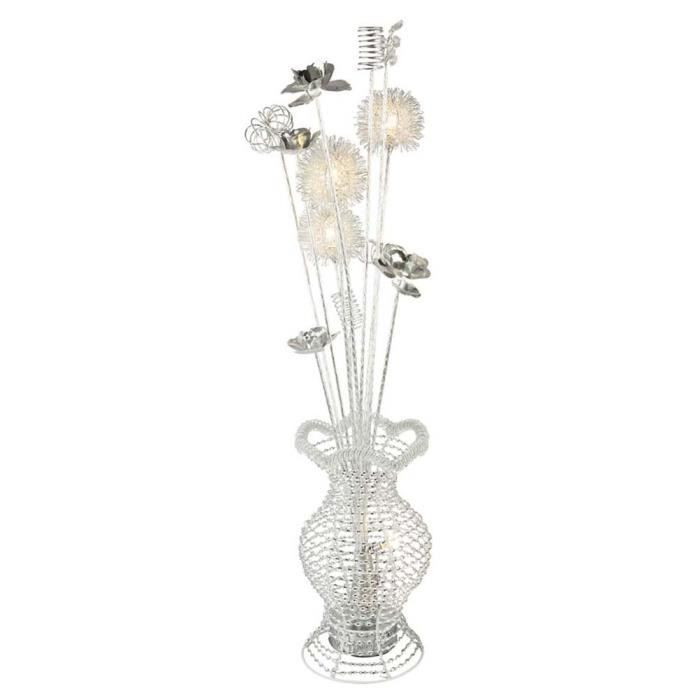 Lampe de table LED, design fleuri, argent, H 80 cm, FIORI
