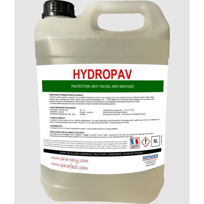 Hydrofuge 5L (=40/50 m2) anti-tâches anti-mousses fini mat pour sols extérieurs type PAVEFAST, PAVE-EASY, PAVEFORM, pierre naturelle