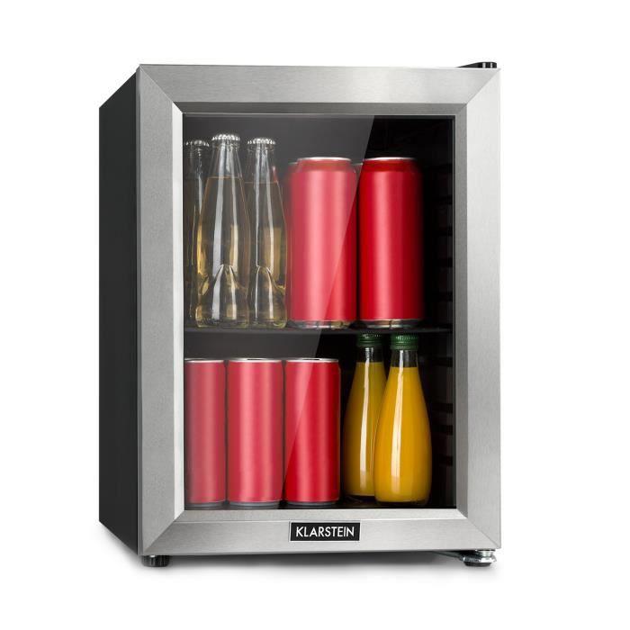 Klarstein Harlem Mini réfrigérateur à boissons 23 litres - 39dB - Clayette en métal - Classe A+ - Porte vitrée - Noir
