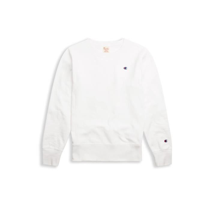 Sweatshirt Champion dame petit logo blanc de la collection Champion Europe edition Limité.