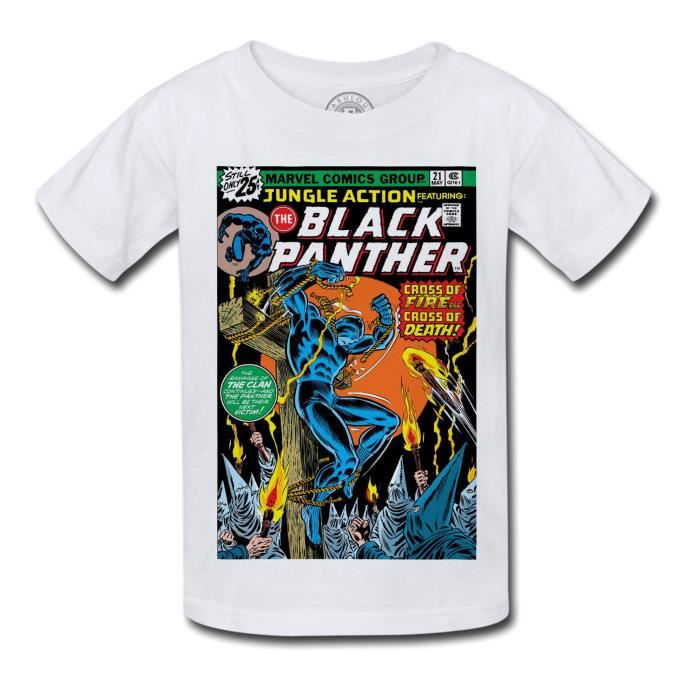 T-shirt Enfant Black Panther Marvel Couverture BD Comics Super Hero Vintage