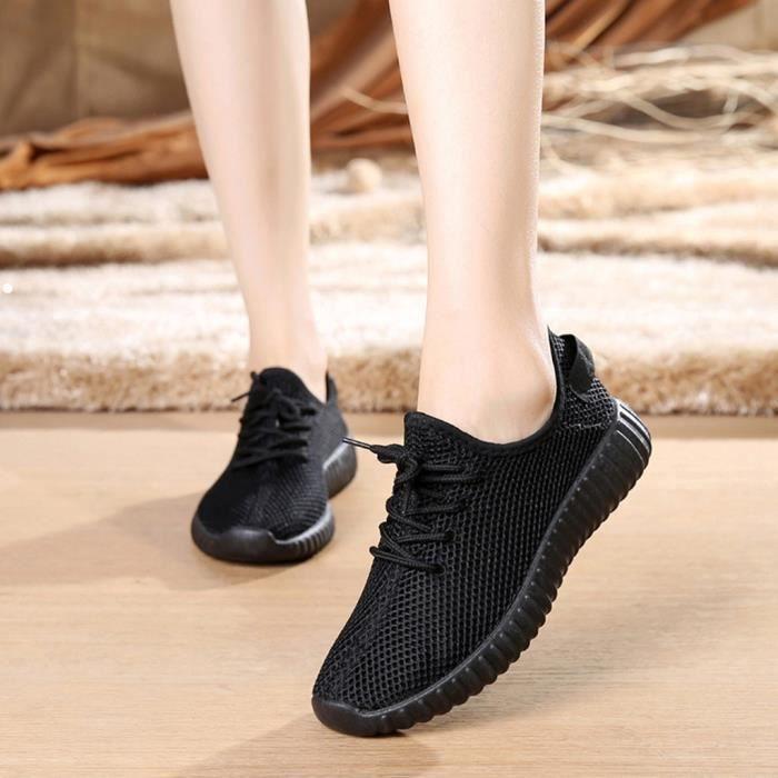 Femmes dames filles mode solide maille légère Sport course baskets chaussures décontractées Noir