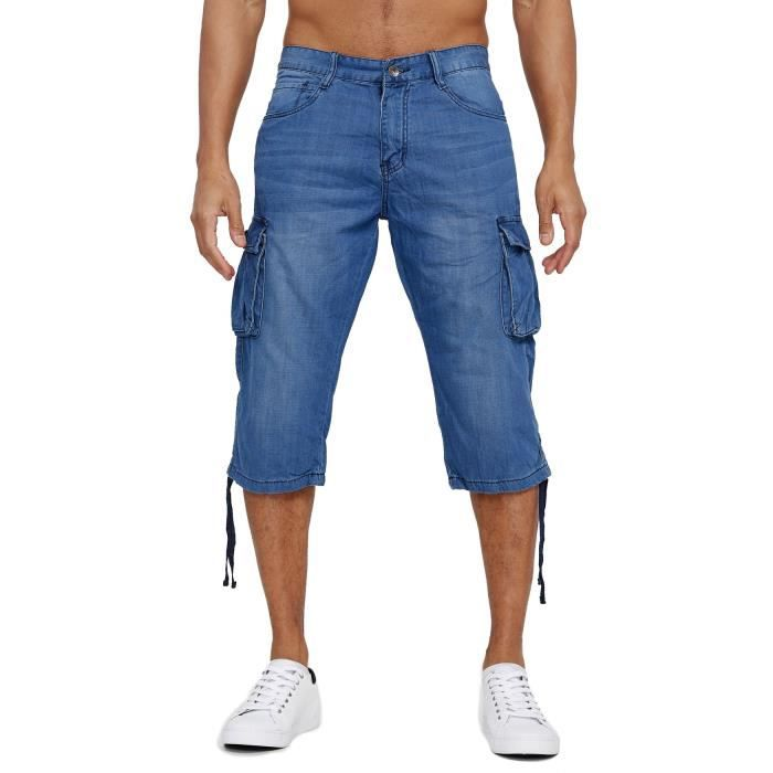 Mens Denim Cargo Jeans Shorts 3-4 Bermuda Summer Pants Short Slim Fit Biker Pants Leg Pockets