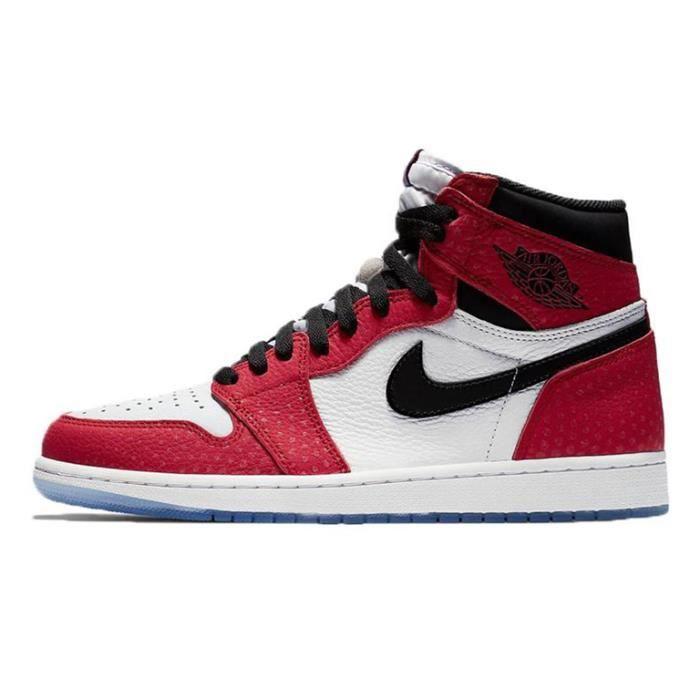 Baskets Airs Jordans 1 Retro High OG -Origin Story- 575441-602 Chaussures de Course pour Homme Femme Rouge