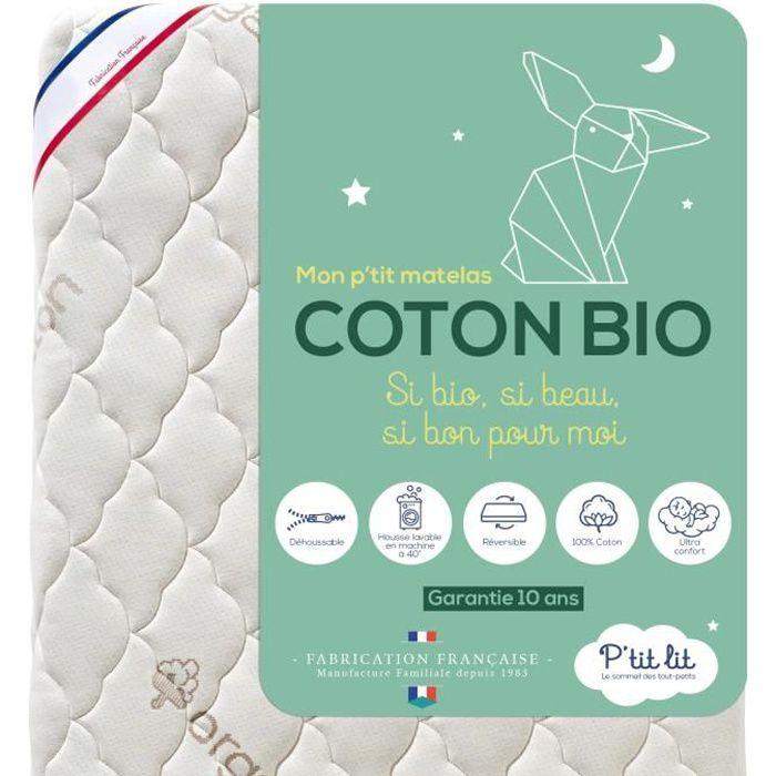 P'tit Lit - Matelas Bébé Coton Bio - 70x140 cm - 100% Coton : matière Naturelle d'origine Végétale - Sans traitement chimique -