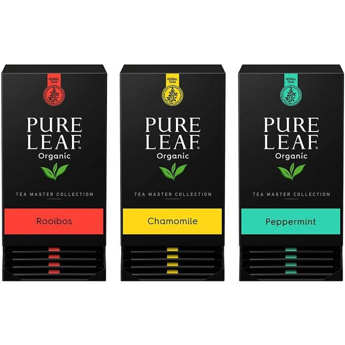 PURE LEAF - LOT DE 3x20 sachets - Assortiment bio d'infusions bien-être