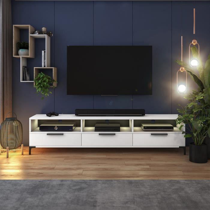 Meuble tv - RIKKE - 160 cm - blanc mat / blanc brillant - avec LED