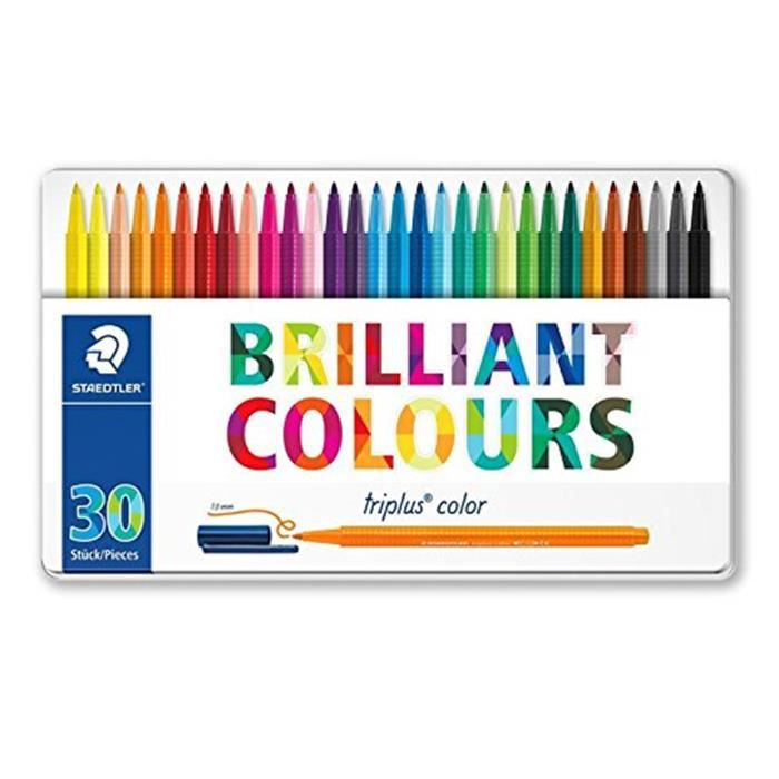 Staedtler Triplus Color, Astuccio In Metallo Brilliant Colours Design Con 30 Penne A Punta Sintetica