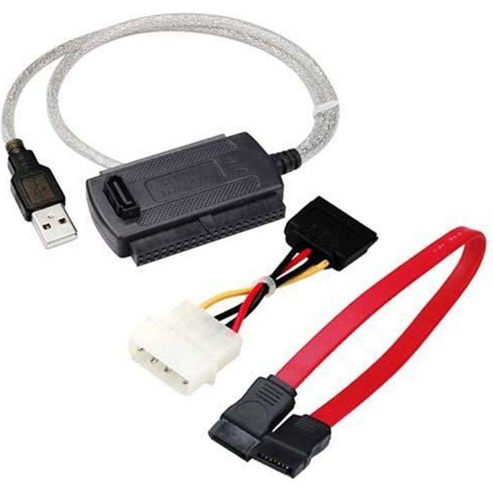 TRIXES Câble adaptateur SATA IDE 2,5/3,5- vers USB pour lecteurs de disques durs, PC