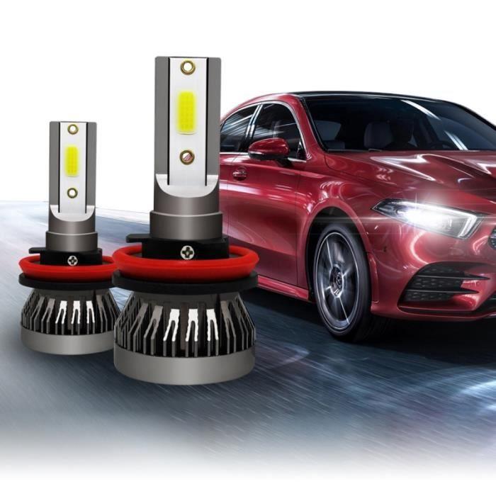 Phare LED voiture 2 PCS H8 / H9 / H11 18W 3000LM 6000K IP68 Mini ampoules de phares à DEL Kit conversion faisceau élevé DC 9-36V