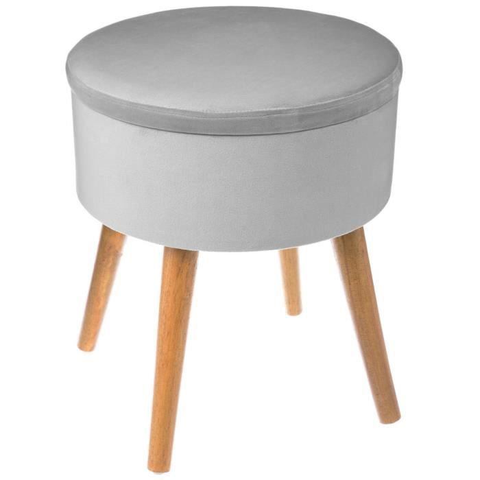 grand tabouret pouf coffre de rangement rond gris clair touch velours gris achat vente. Black Bedroom Furniture Sets. Home Design Ideas