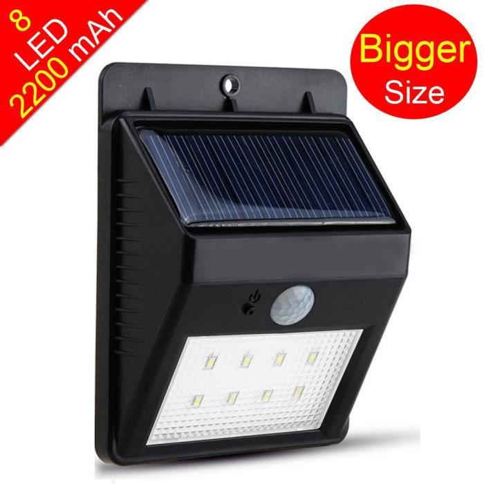 lampe solaire 8 led sans fil tanche avec d tecteur de. Black Bedroom Furniture Sets. Home Design Ideas