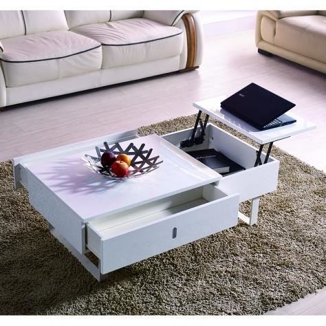 Table basse design multifonction extensible laqu blanc yoa achat vente t - Forum mobilier de france ...