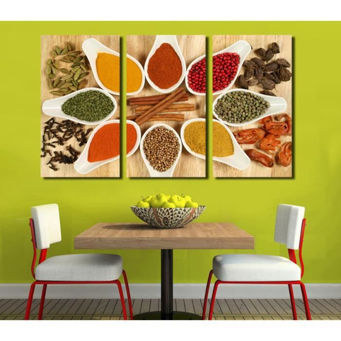 3 photo moderne toile peinture cuisine pices wall art for Poster mural pas cher