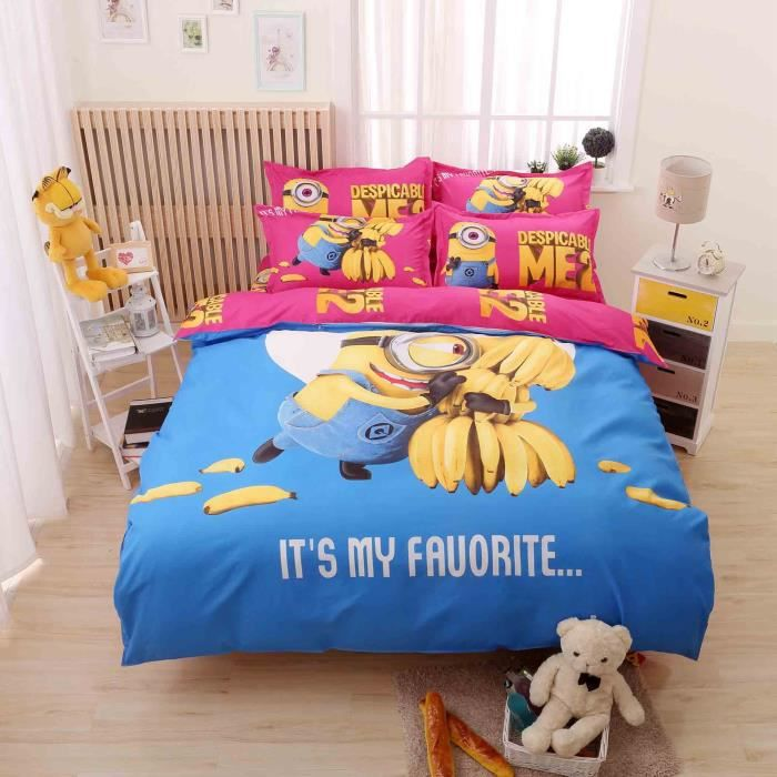 parure de couette parure de lit les minions et les bananes. Black Bedroom Furniture Sets. Home Design Ideas
