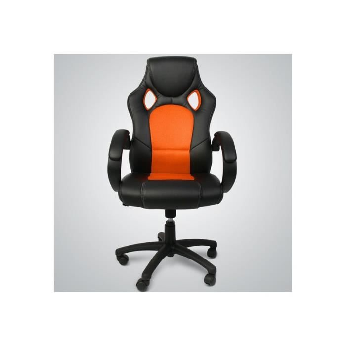 fauteuil de bureau inclinable r glable pu ergonomique noir orange achat v. Black Bedroom Furniture Sets. Home Design Ideas
