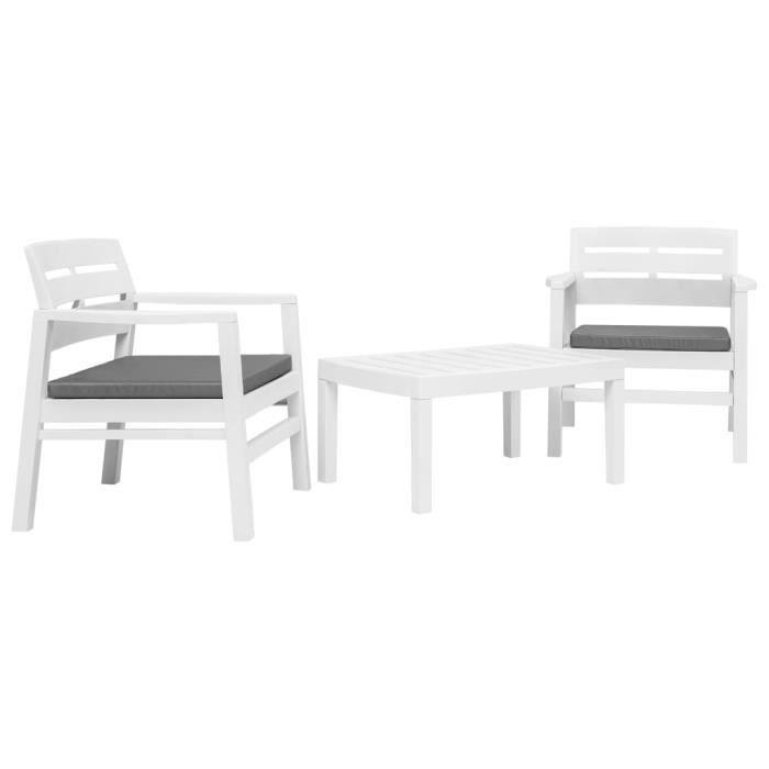Ensemble de mobilier de jardin 3 pcs Plastique Blanc - 1 table, 2 fauteuils  et 2 coussins de siège
