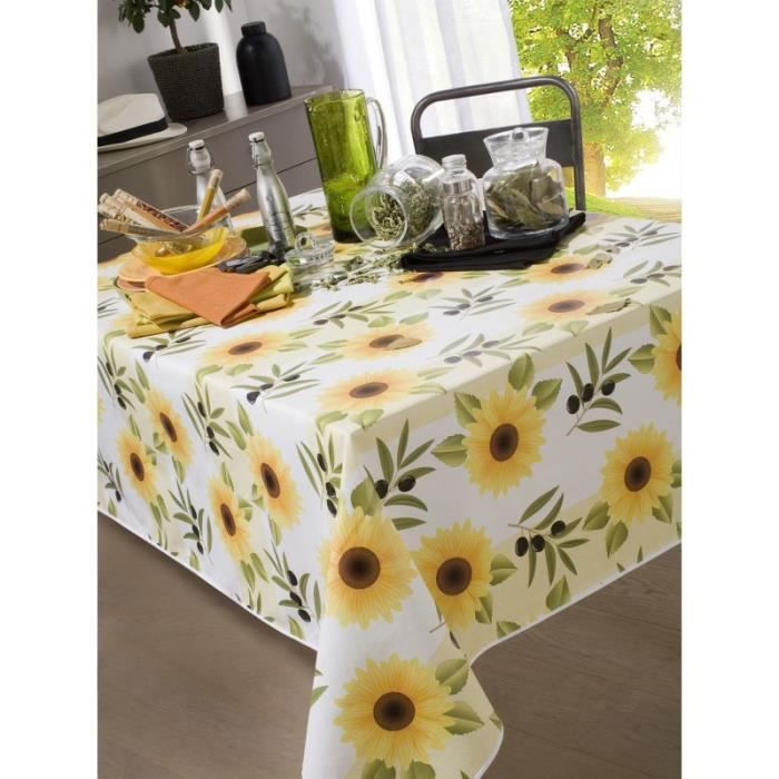 nappe en toile cir e rectangulaire 140x200 cm soleil provence achat vente nappe de table. Black Bedroom Furniture Sets. Home Design Ideas