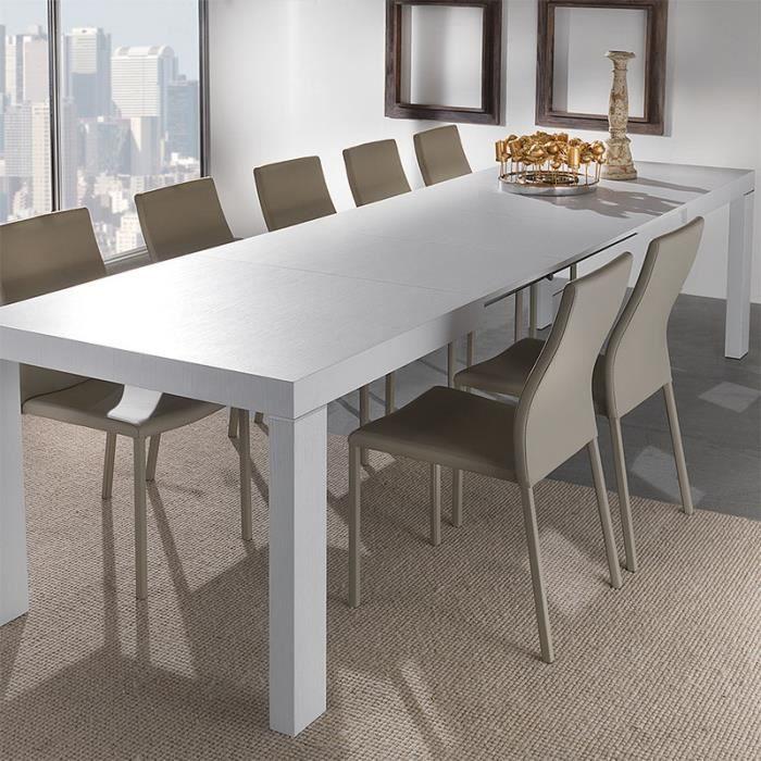 TABLE À MANGER SEULE Table à manger couleur chêne gris extensible BELIN