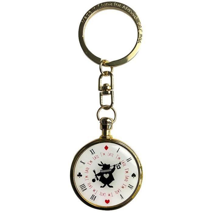 Broche /épingle Lapin blanc /à la montre Alice au pays des merveilles cabochon bronze verre