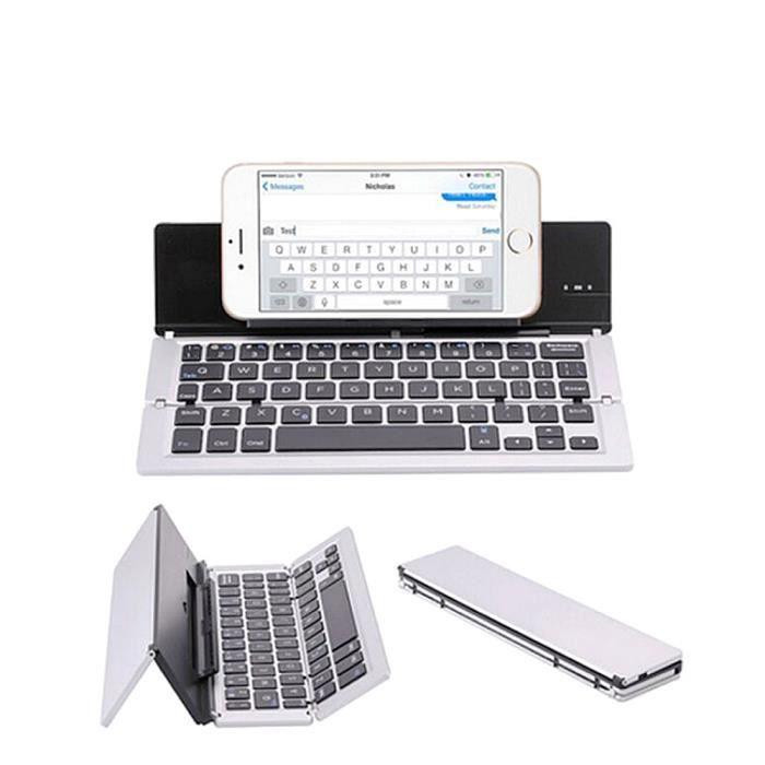 CLAVIER D'ORDINATEUR Mini clavier de tablette sans fil pliable Bluetoot