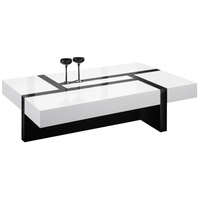 Table de salon rectangulaire noir et blanc laqu 4 - Table de salon rectangulaire ...