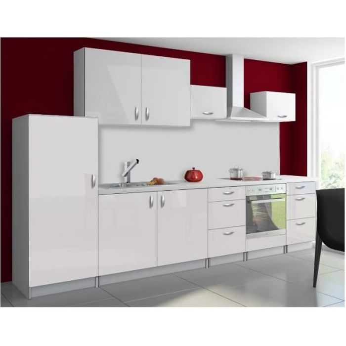 cuisine compl te en kit oxin blanc brillant design achat vente cuisine compl te cuisine. Black Bedroom Furniture Sets. Home Design Ideas