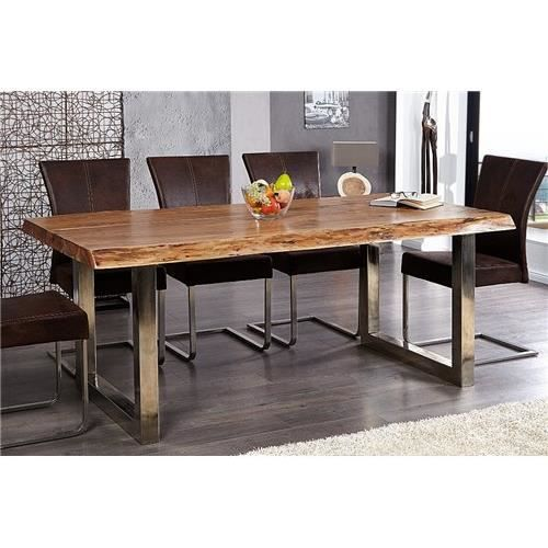 Table design akazio bois achat vente table a manger for Table en fer exterieur
