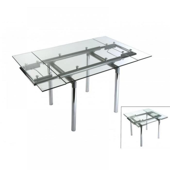 Table extensible pour 6 couverts en verre cristal ultra for Table haute 6 couverts
