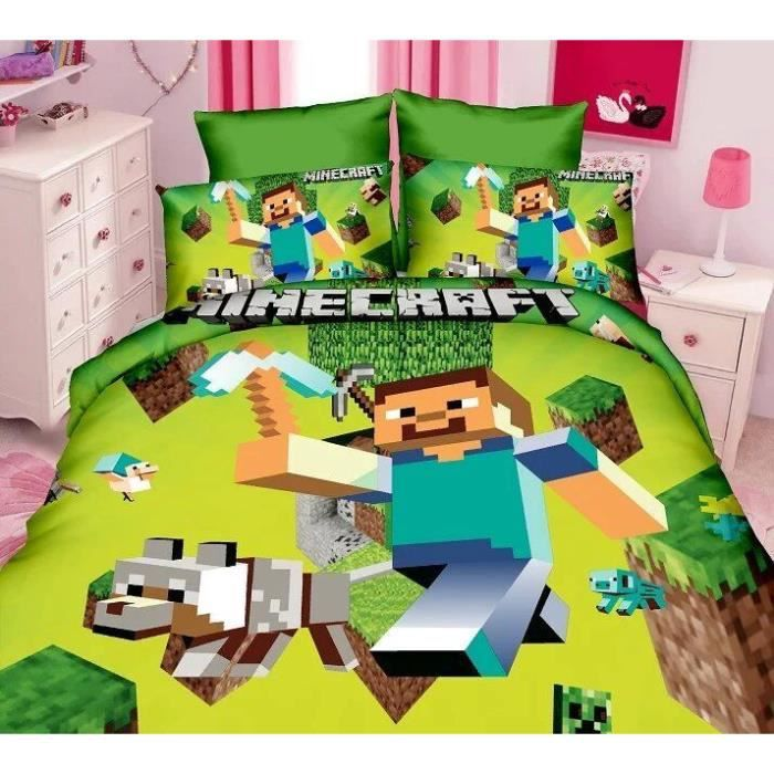 parure de lit enfant minecraft achat vente housse de couette cdiscount. Black Bedroom Furniture Sets. Home Design Ideas