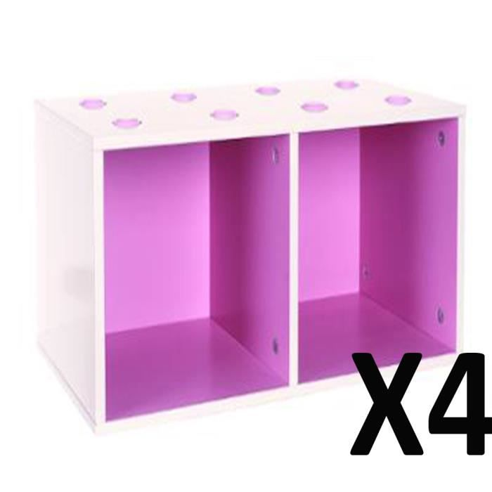 lot de 4 etag res cube paisseur cm violet l 54 x p 27 x h 27 cm achat vente etag re. Black Bedroom Furniture Sets. Home Design Ideas