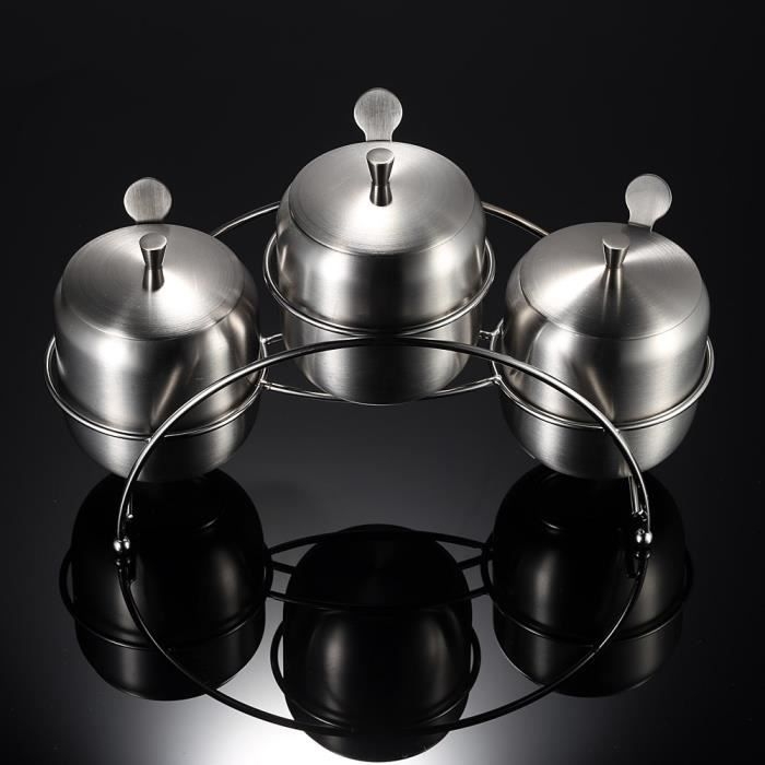 ensemble de 3 inox conteneurs pot avec cuill 232 re bo 238 te assaisonnement cruet pot sucre sel caf 233