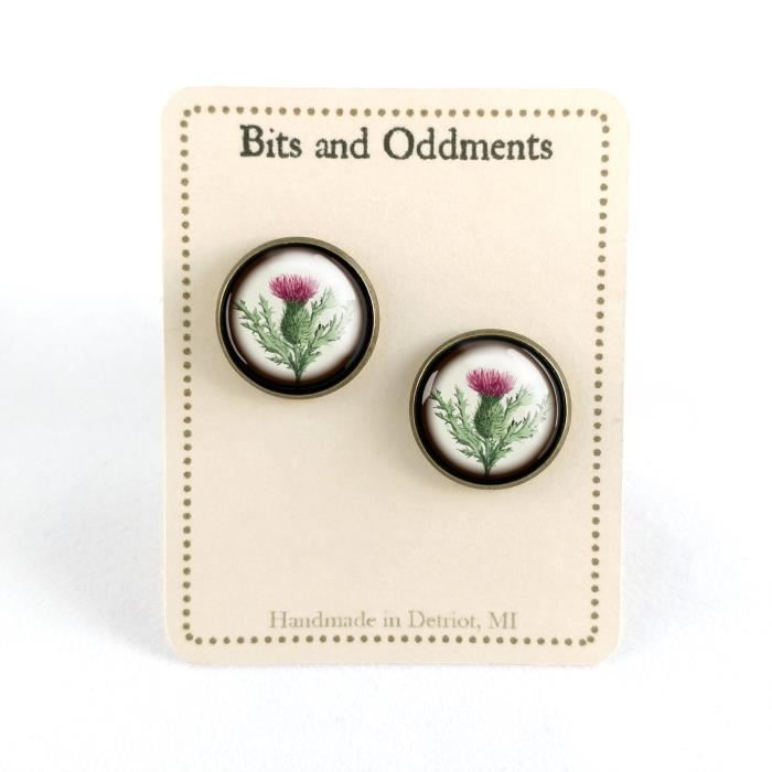 Womens Thistle Glass Cabochon Stud Earrings CRG8H