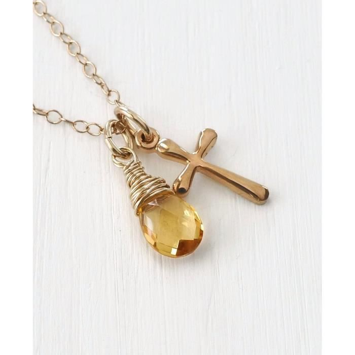Womens Small Gold Cross Birthstone Necklace With November Birthstone Citrine - 18 Inch DWM06