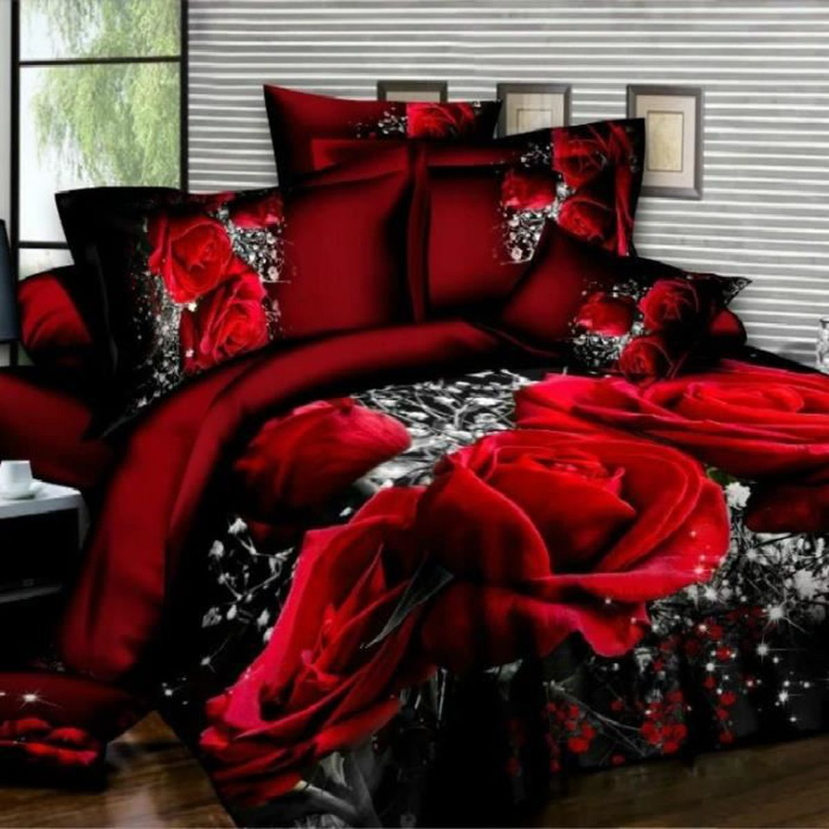 parure de lit 3d 200x200 achat vente parure de lit 3d. Black Bedroom Furniture Sets. Home Design Ideas