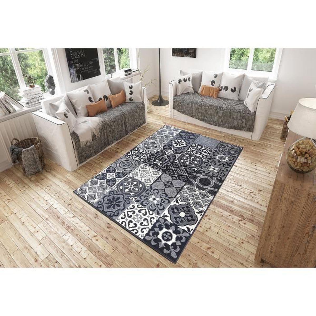 Salon De Jardin Carreau De Ciment tapis salon patchwork carreaux ciment gris debonsol - 120x170cm