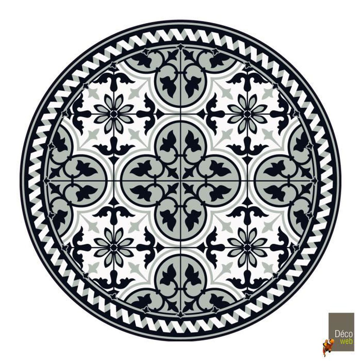 Tapis Imitation Carreaux De Ciment Vinyle tapis rond vinyle carreaux de ciment - noémie - noir et
