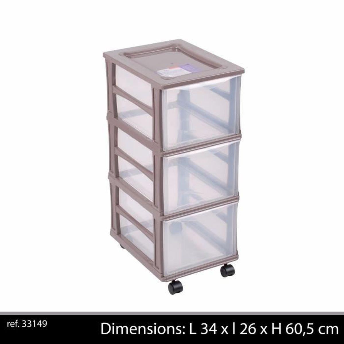 Colonne Plastique 3 Tiroirs Box Casier De Rangement Caisse Sur Roue Roulette Pour Bureau Ou Salon