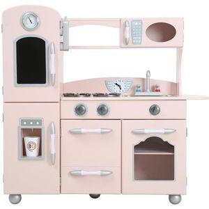 DINETTE - CUISINE Cuisine enfant en bois dinette en rose pour fille