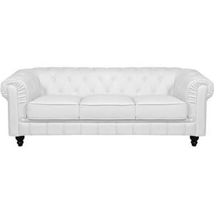 Canape chesterfield cuir blanc achat vente canape for Divan 3 places elran
